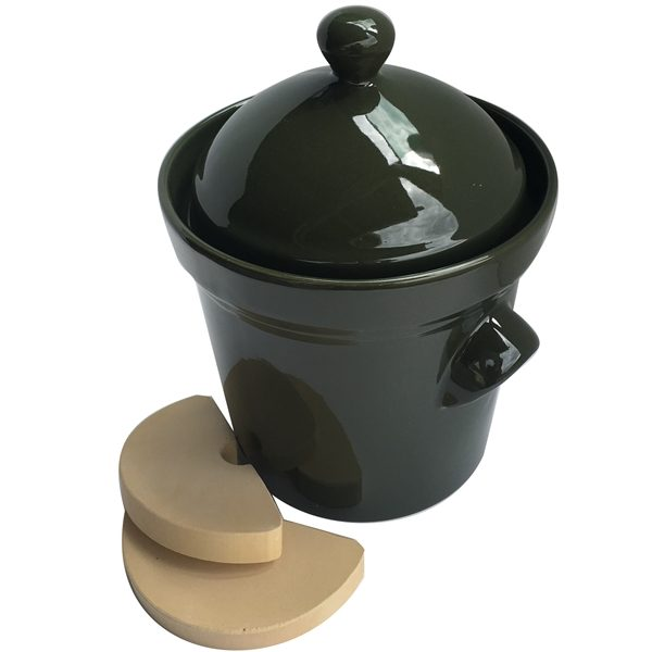 5L olive green crockpot with weights