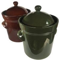 10L Fermenting Crockpots in brown and olive green