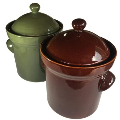 5L Fermenting Crockpots in brown and olive green